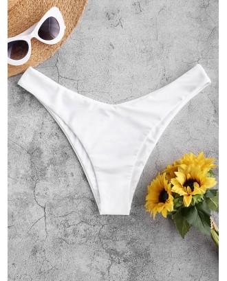 High Leg Plain Swimwear Bottom - White S