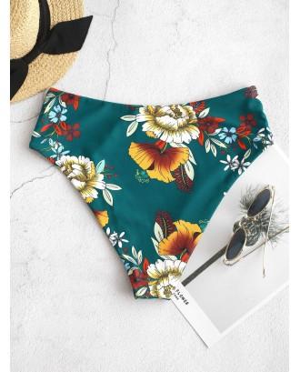 Floral High Waisted Swimwear Bottom - Medium Sea Green S