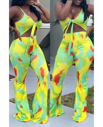 Lovely Beautiful Spaghetti Straps Printed Yellow One-piece Jumpsuit