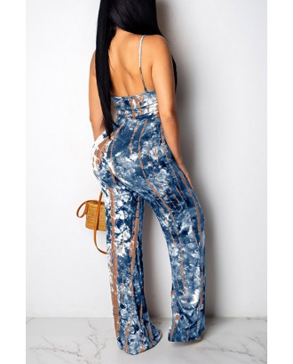 Lovely Beautiful Spaghetti Straps Printed Blue One-piece Jumpsuit