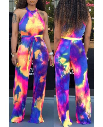 Lovely Casual Halter Neck Tie-dye Multicolor One-piece Jumpsuit