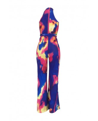 Lovely Casual Halter Neck Tie-dye Multicolor One-piece Jumpsuit