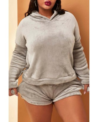 Lovely Casual Hooded Collar Grey Plus Size Two-piece Shorts Set