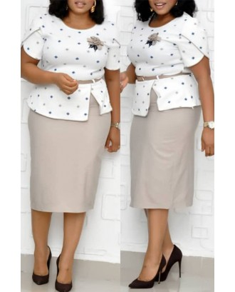 Lovely Casual Dot Printed Apricot Plus Size Two-piece Skirt Set