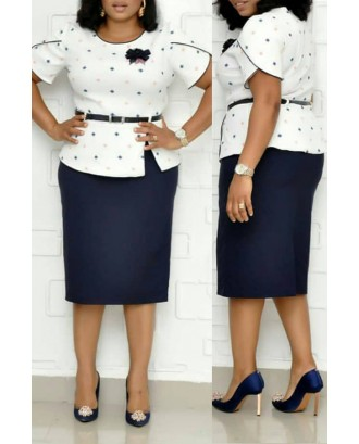 Lovely Casual Dot Printed Dark Blue Plus Size Two-piece Skirt Set