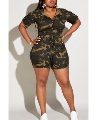 Lovely Casual Camouflage Printed Plus Size One-piece Romper