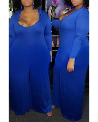 Lovely Casual U Neck Loose Blue Plus Size One-piece Jumpsuit