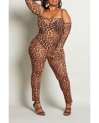 Lovely Beautiful See-through Leopard Printed Plus Size One-piece Jumpsuit