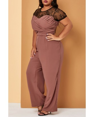 Lovely Casual Patchwork Brick Red Plus Size One-piece Jumpsuit