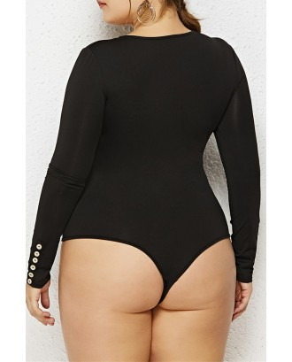 Lovely Casual Zipper Design Black Plus Size Bodysuit