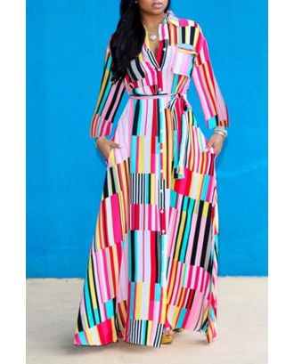 Lovely Bohemian Turndown Collar Striped Multicolor Floor Length A Line Plus Size Dress