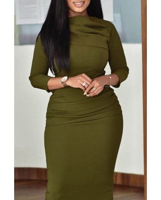 Lovely Casual Basic Green Mid Calf Plus Size Dress