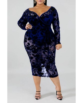 Lovely Beautiful V Neck Hollow-out Vivid Blue Mid Calf Plus Size Dress