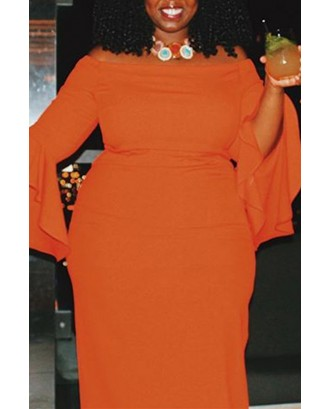 Lovely Casual Flounce Design Orange Red Mid Calf Plus Size Dress